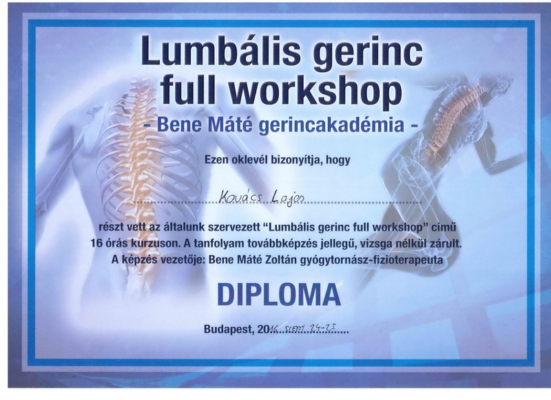 Bene Máté Gerincakadémia Lumbális gerinc full workshop